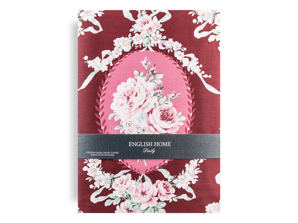 Rose Grace Pamuk Saten Tek Kişilik Nevresım 160x220 Cm Bordo