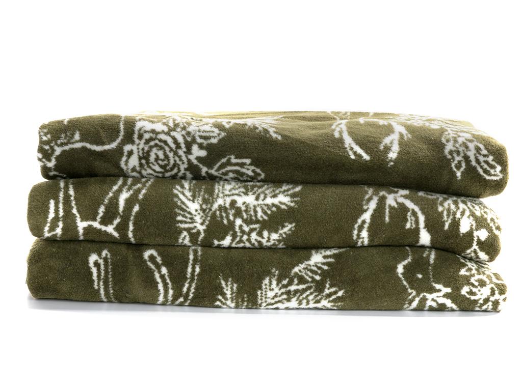 Rosy Deers Pamuklu Çift Kişilik Battaniye 200x220 Cm Yeşil