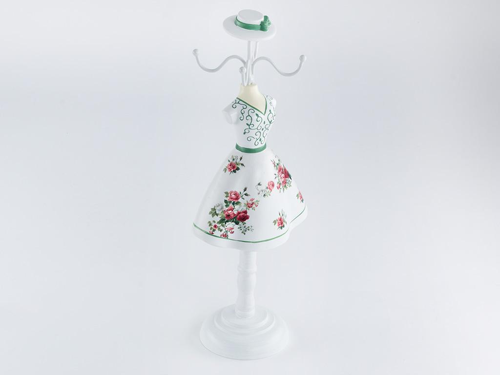Glam Rose Polyresin Takılık 12x8,5x32 Cm Beyaz - Yeşil