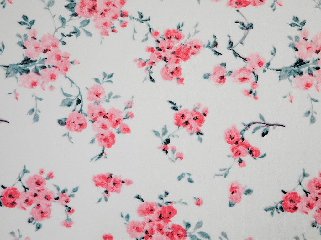 Chichi Roses Baskılı Halı 120x180 Cm Beyaz - Pembe