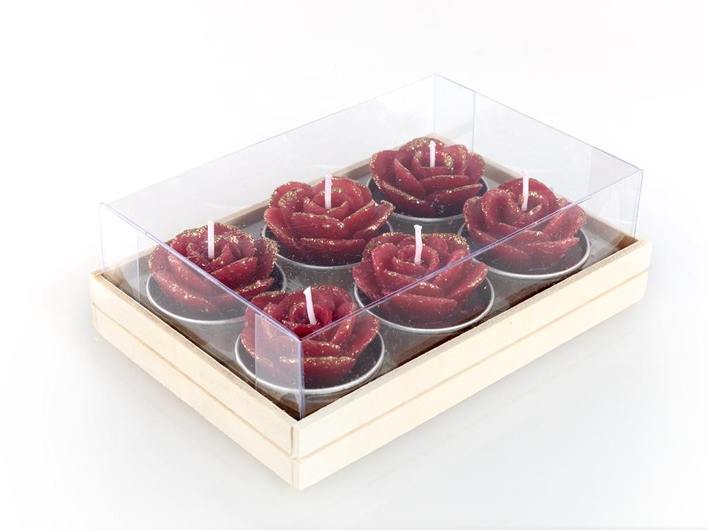 Glam Rose 6'lı Mum 13,7x9x3,5 Cm Kırmızı