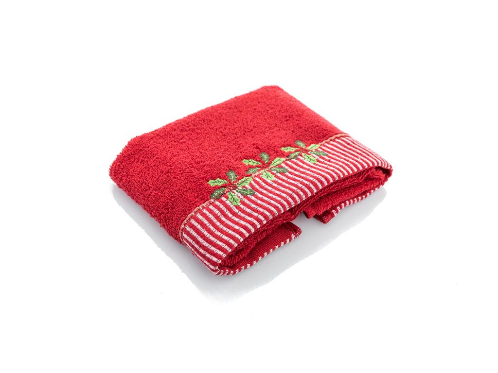Kokina Nakışlı Paketli Hedıyelık Havlu 40x60 Kırmızı