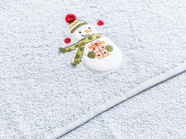Snowman Nakışlı Paketli Hediyelik Havlu 40x60 Mavi
