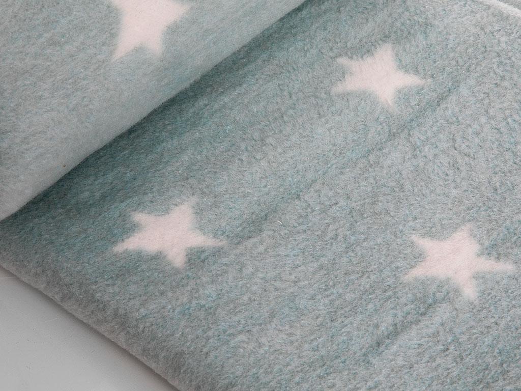 Soft Stars Pamuklu Bebe Battaniye 100x120 Cm Seledon