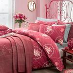Majestic Rose Örme Tek Kişilik Yatak Örtüsü Takımı 160x240 Cm Bordo