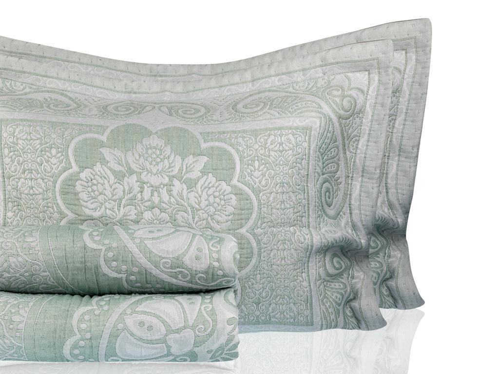 Orieantal Rose Cover Çift Kişilik Yatak Örtüsü Takımı 250x260 Cm Seledon