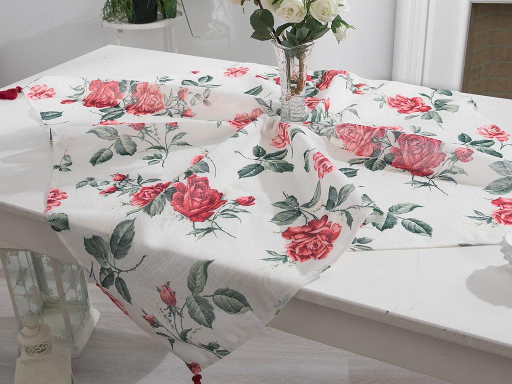 Glam Rose Baskılı Masa Örtüsü 100x100 Cm Ekru