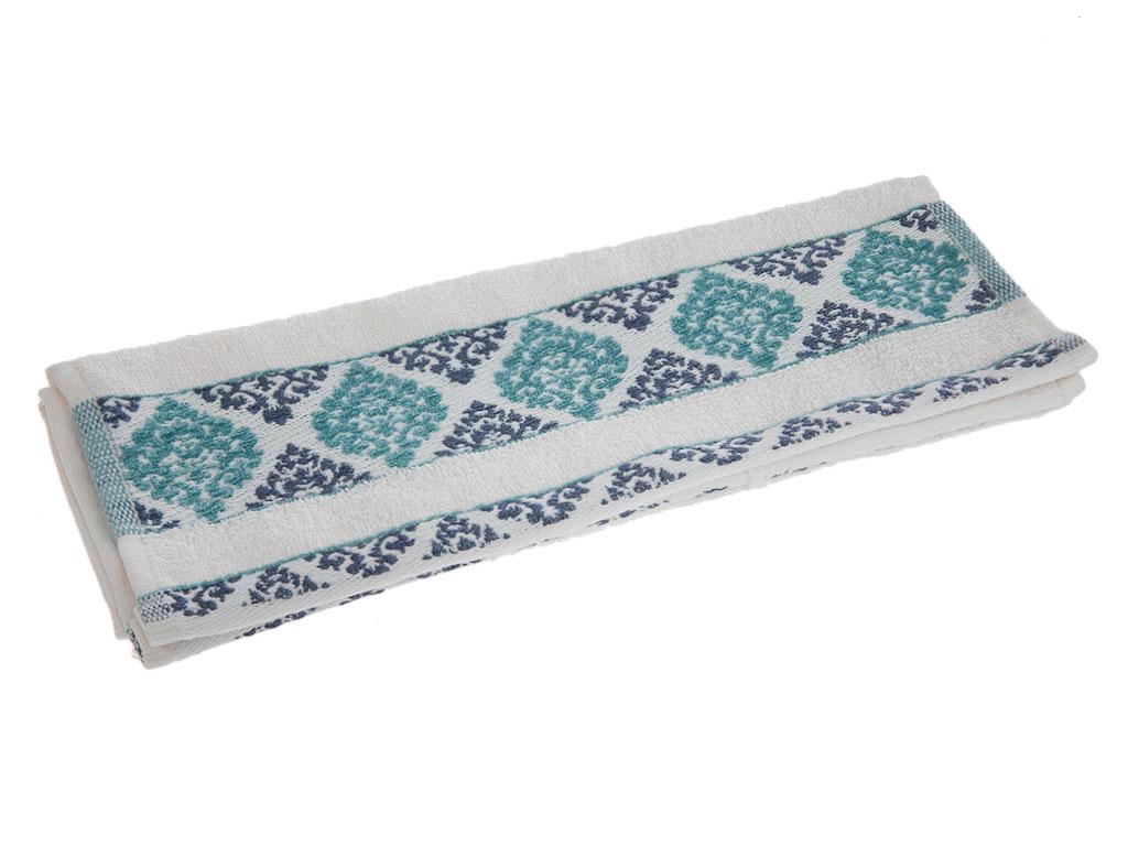 Glam Damask Jakarlı El Havlusu 30x45 Cm Krem - Mavi