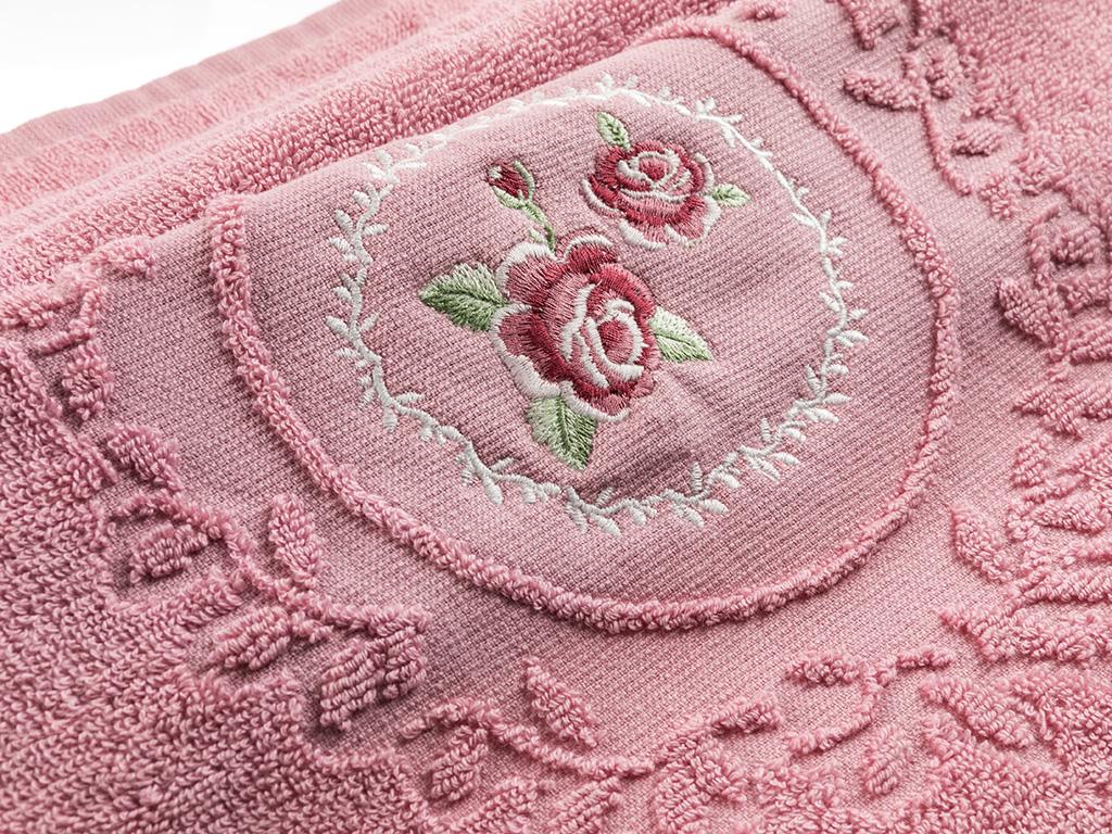 Majestic Rose Nakışlı Yüz Havlusu 50x80 Cm Gül Kurusu
