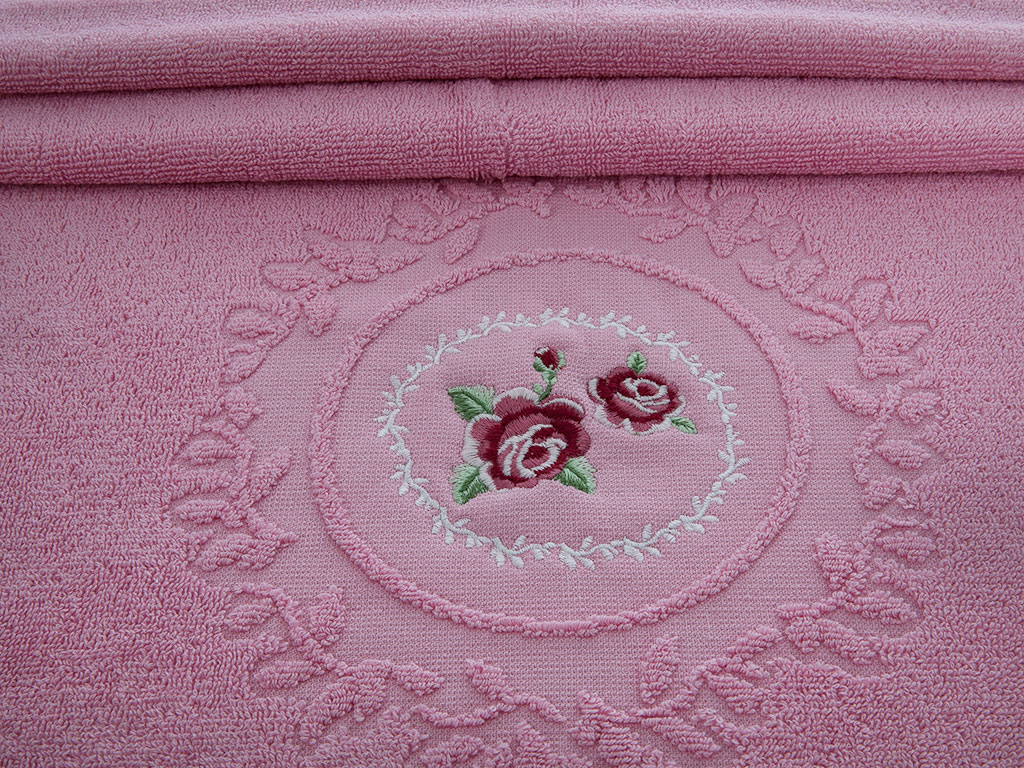 Majestic Rose Nakışlı Yüz Havlusu 50x80 Cm Pembe