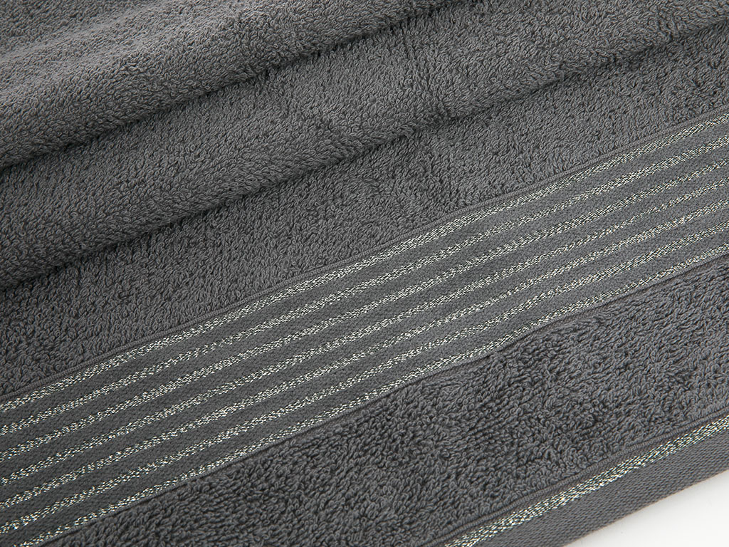 Glam Stripe Simli Yüz Havlusu 50x80 Cm Gri