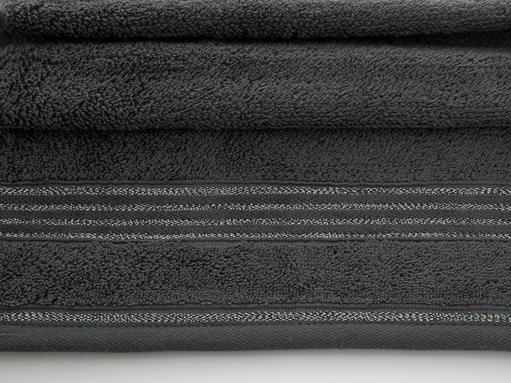 Glam Stripe Simli El Havlusu 30x45 Cm Gri