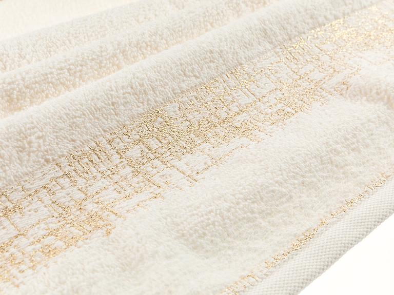 Glam Bordure Simli Yüz Havlusu 50x80 Cm Krem-altın