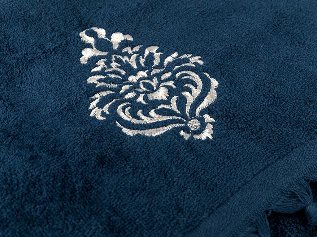Tulip Damask Kadife Nakışlı Yüz Havlusu 40x60 Cm Lacivert