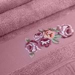 Rose Luster Nakışlı Yüz Havlusu 50x80 Cm Gül Kurusu