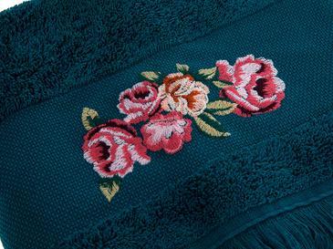 Rose Luster Nakışlı Yüz Havlusu 50x80 Cm Koyu Yeşil