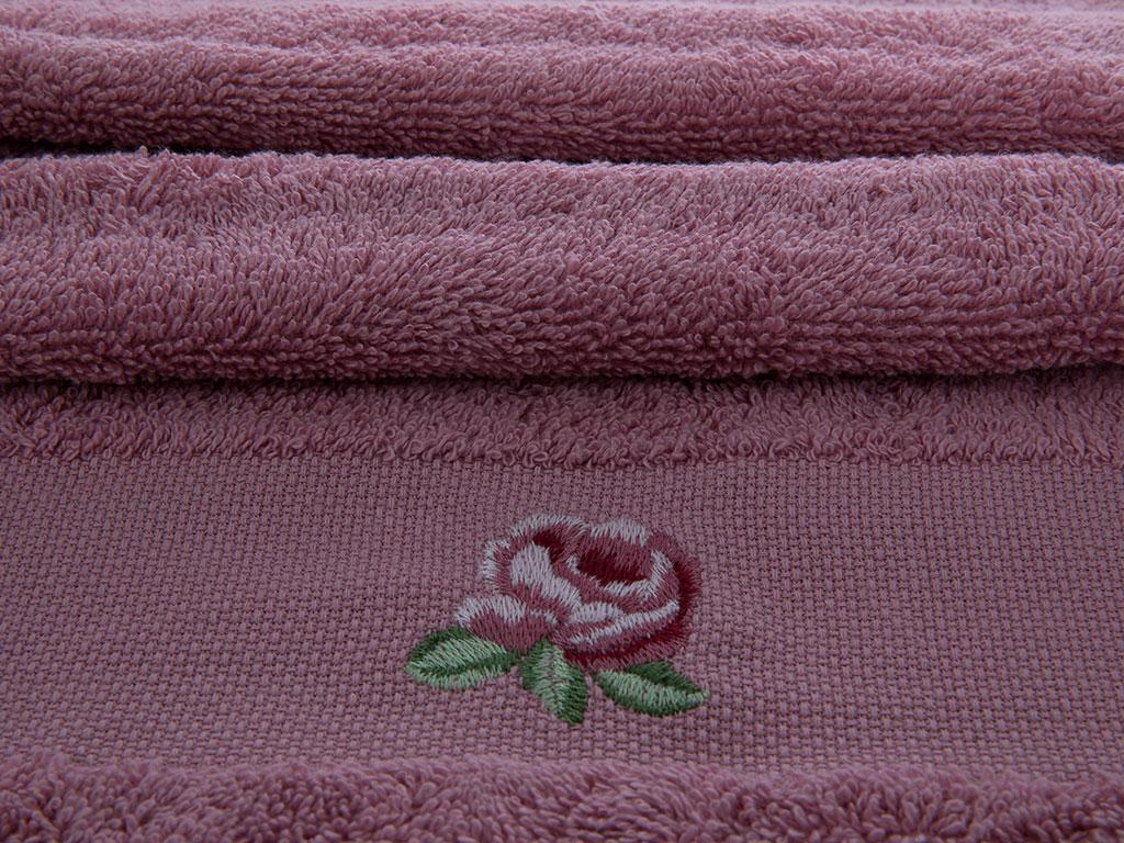 Rose Luster Nakışlı El Havlusu 30x45 Cm Gül Kurusu
