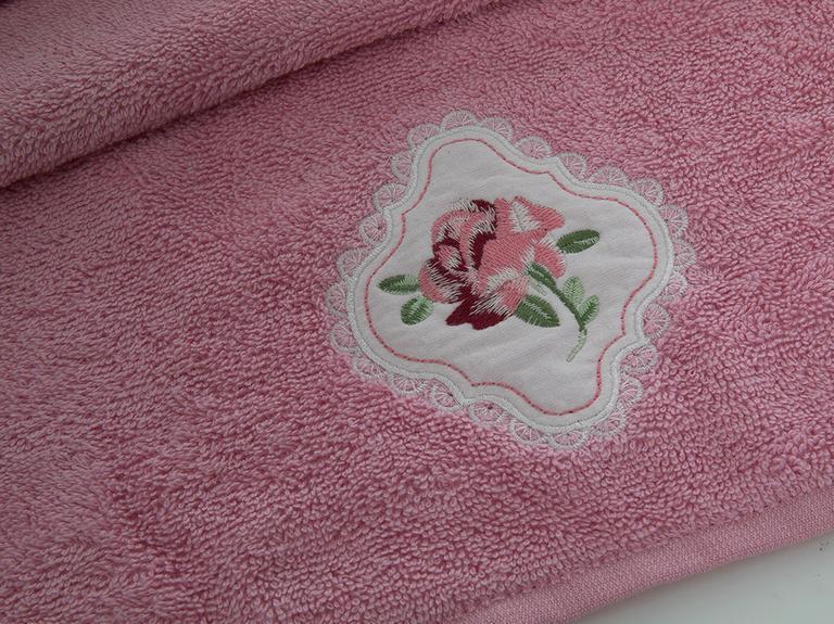 Rose Passion Nakışlı Yüz Havlusu 50x80 Cm Pembe