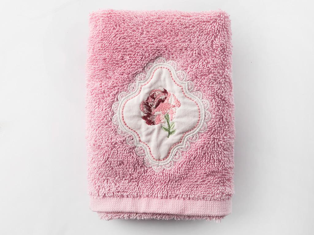 Rose Passion Nakışlı El Havlusu 30x45 Cm Pembe