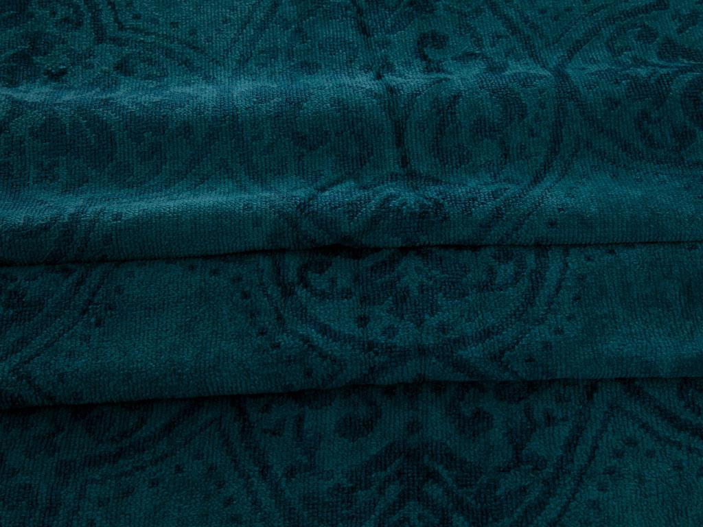 Elegance Kadife Jakarlı Yüz Havlusu 50x80 Cm Koyu Yeşil