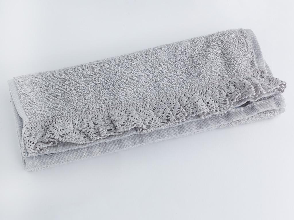 Glam Frill Fırfırlı El Havlusu 30x45 Cm Açık Gri
