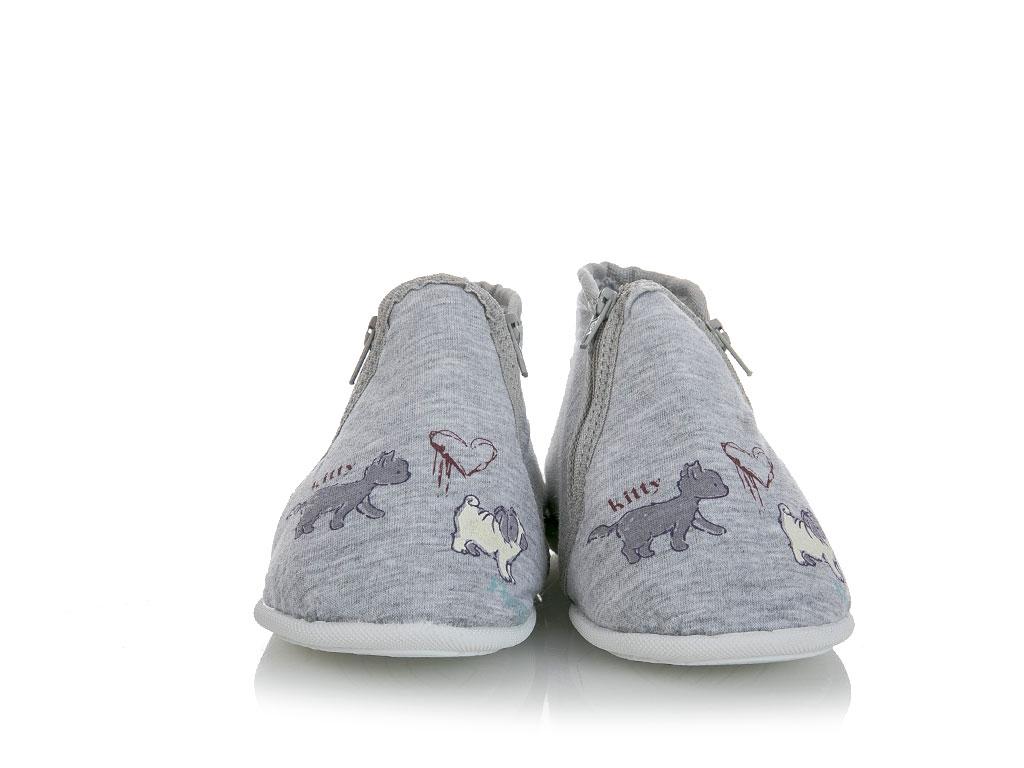 Boy Pamuklu Erkek Çocuk Çocuk Ev Ayakkabısı 6-7 Yaş Gri Melanj