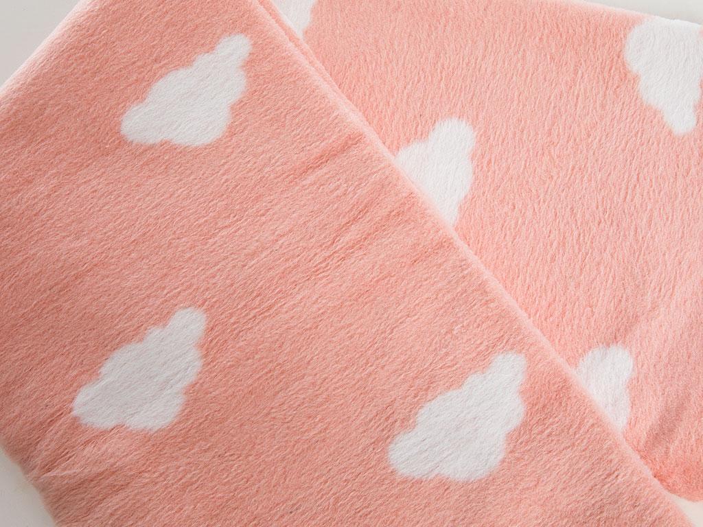 Mini Clouds Pamuklu Bebe Battanıye 100x120 Cm Şeker Pembe
