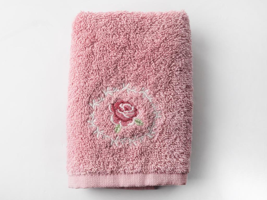 Majestic Rose Nakışlı El Havlusu 30x45 Cm Gül Kurusu