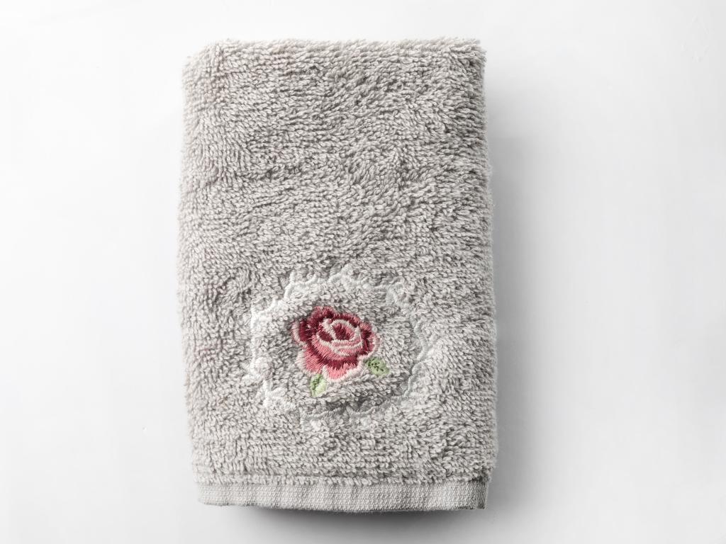 Majestic Rose Nakışlı El Havlusu 30x45 Cm Açık Gri