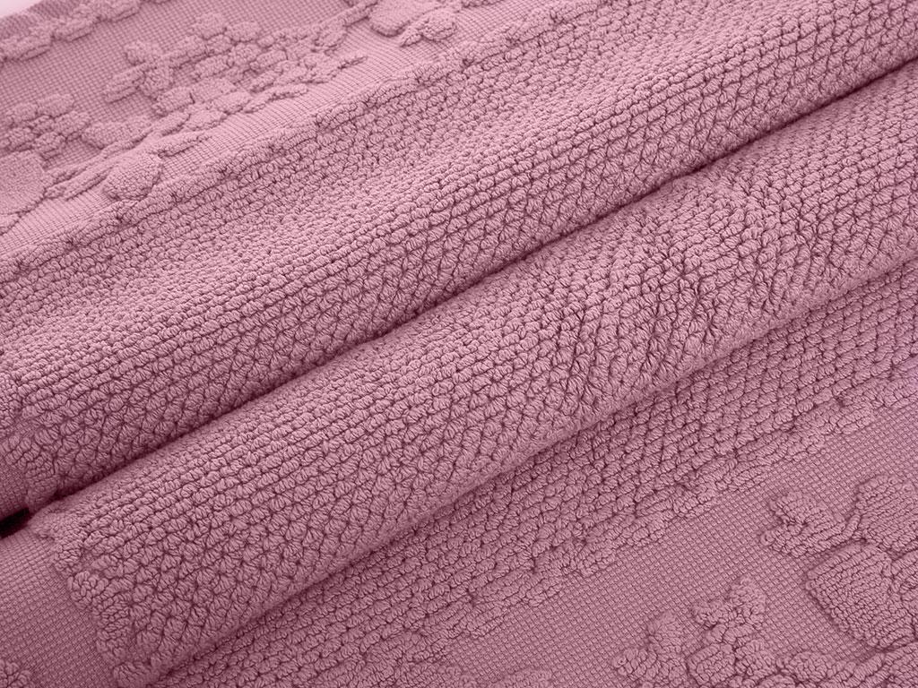 Glam Rose Jakarlı Ayak Havlusu 50x70 Cm Gül Kurusu