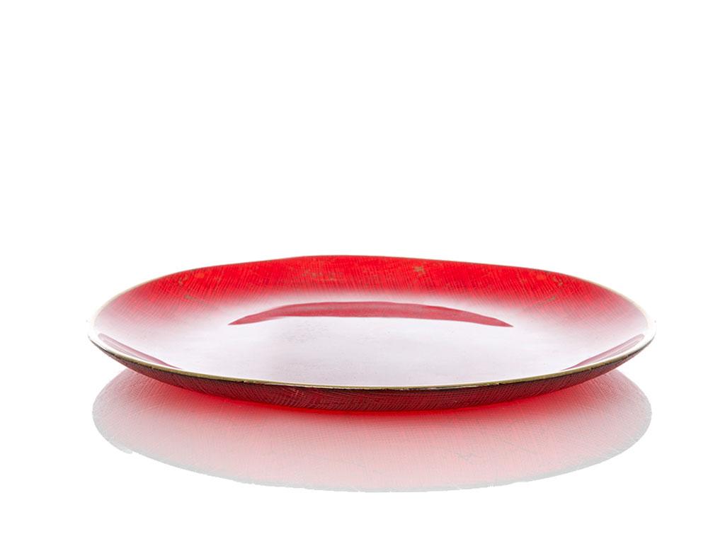 Red Cake Cam Pasta Tabağı 21 Cm Kırmızı