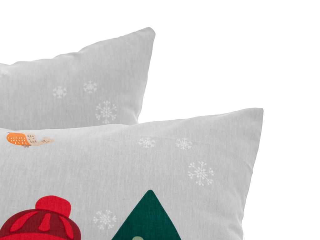 Cheerful Snowman Pamuklu 2'li Pano Yastık Kılıfı 50x70 Cm Gri