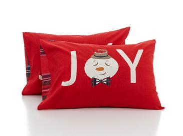 Snowman Joy Pamuklu 2'li Pano Yastık Kılıfı 50x70 Cm Kırmızı