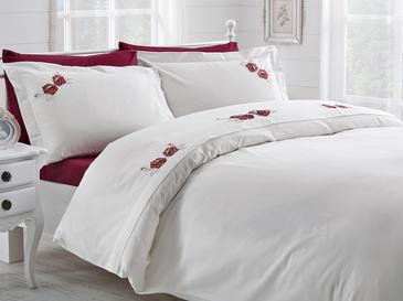 Glam Rose Nakışlı Pamuk Saten Çift Kişilik Nevresim Takımı 200x220 Cm Bordo