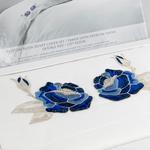 Glam Rose Nakışlı Pamuk Saten Çift Kişilik Nevresim Takımı 200x220 Cm Lacivert