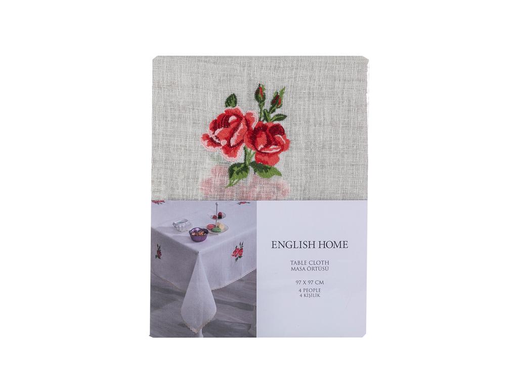 Majestic Rose Nakışlı Masa Örtüsü 97x97 Cm Ekru