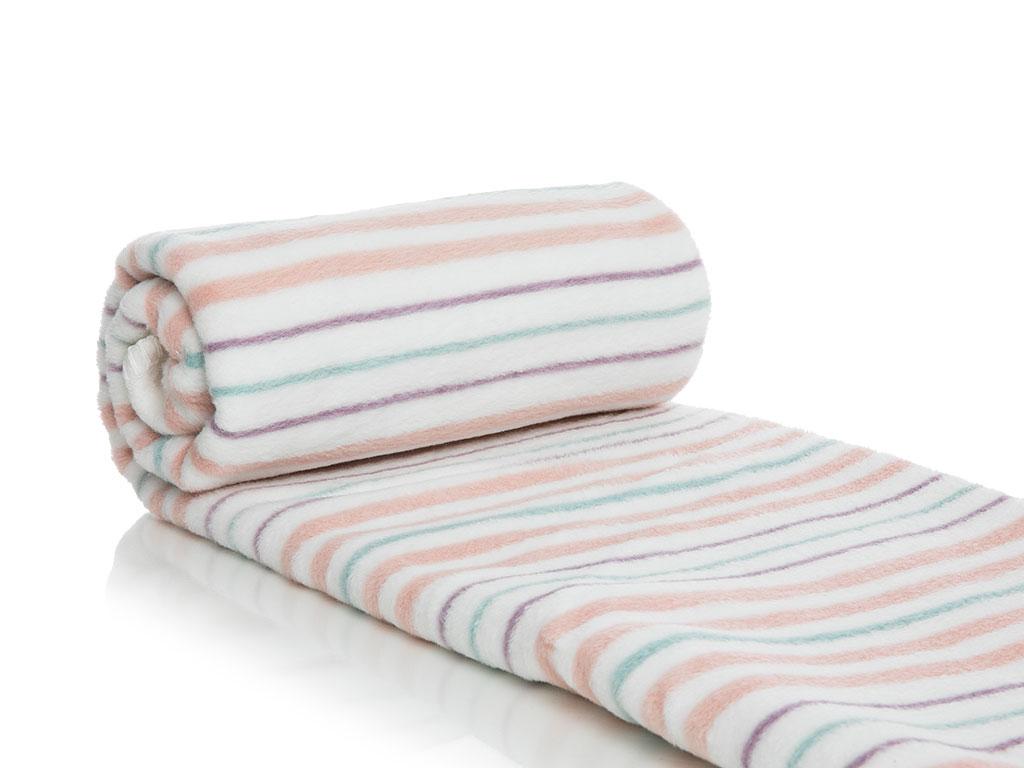 Petit Stripes Pamuklu Bebe Battanıye 100x120 Cm Pembe