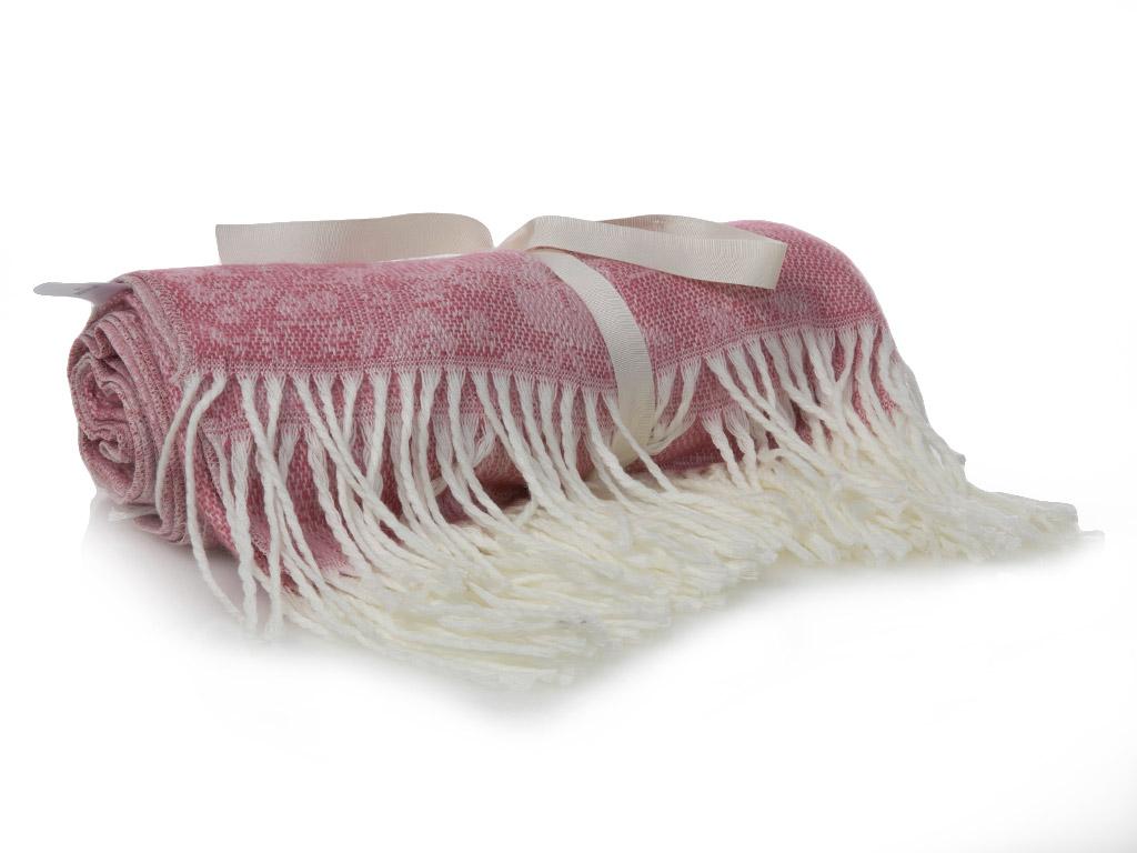 Glam Rose Jakarlı Koltuk Şalı 130x170 Cm Kırmızı-pembe