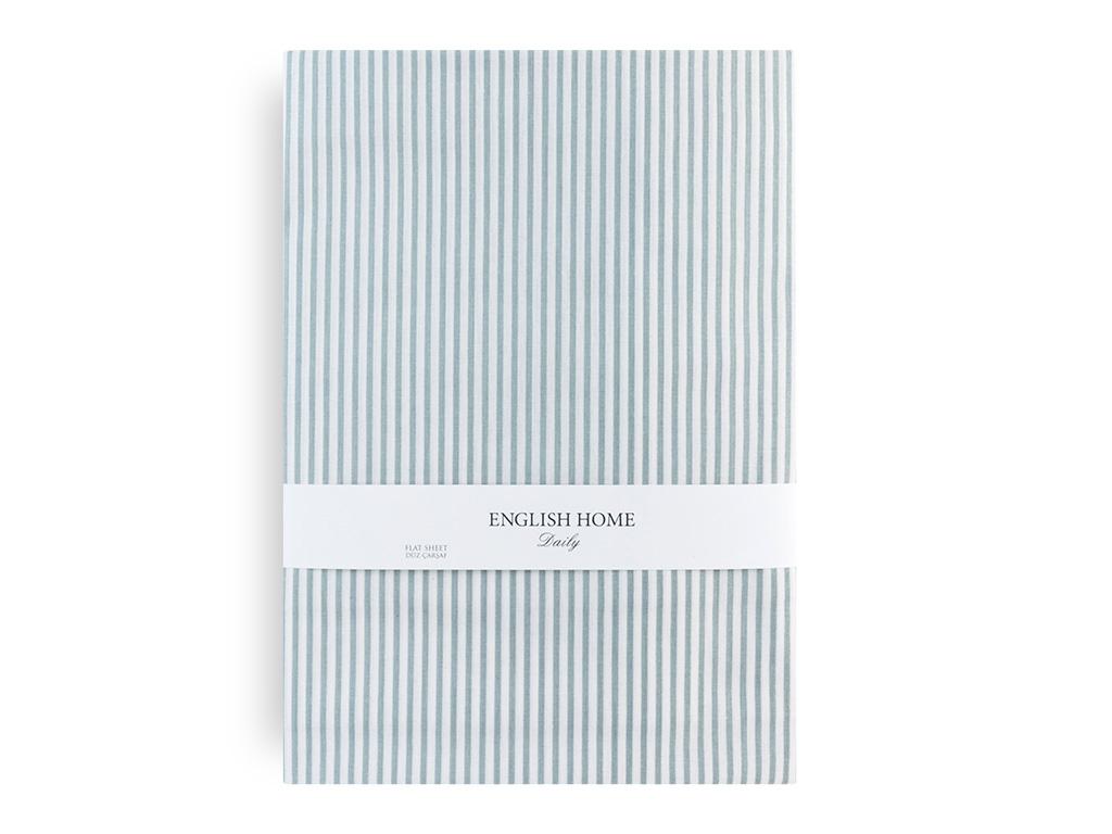 Stripe New Pamuklu Tek Kişilik Çarşaf 160x240 Cm Mavi