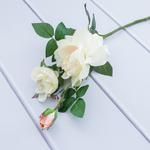 Garden Rose 3 Head Yapay Çıçek 65 Cm Beyaz