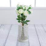 Rose With 4 Bunch Yapay Çıçek 44,5 Cm Beyaz