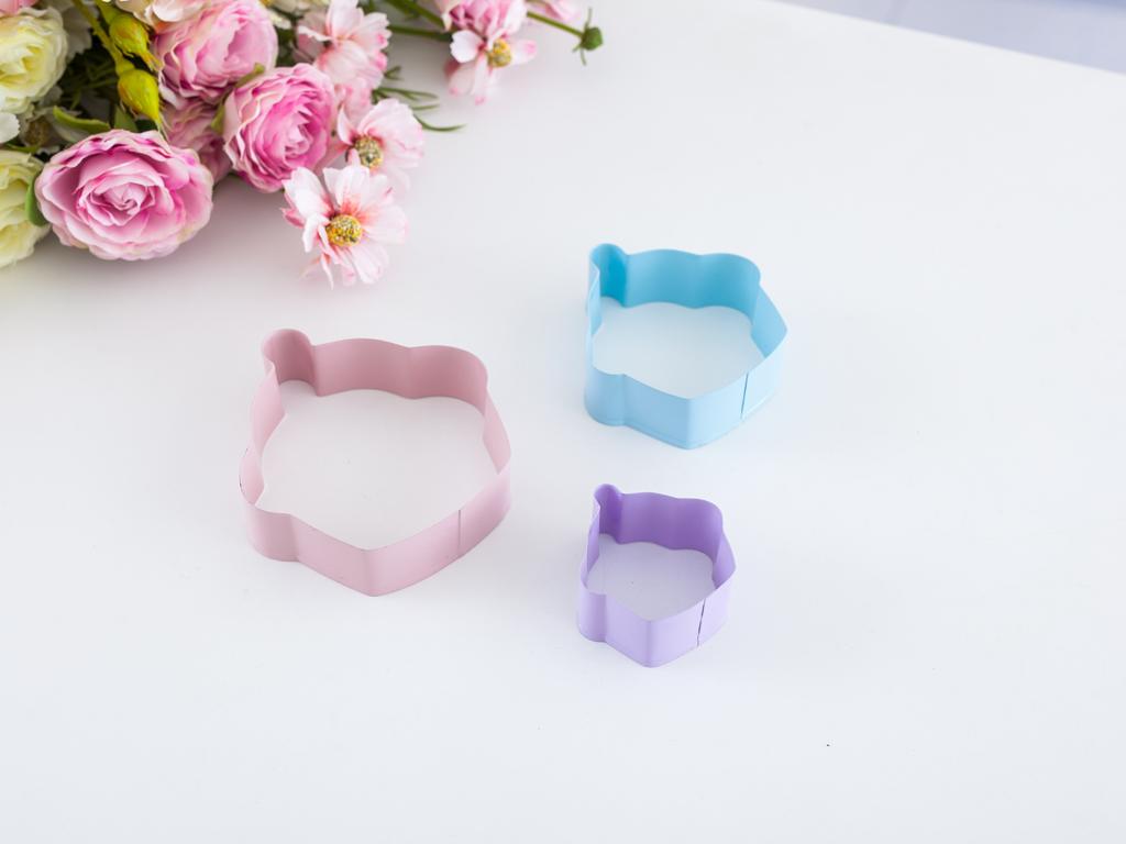 Cupcake Metal 3'lü Kurabıye Kalıbı 9,5x8,8x2,5 Cm Mint - Lila - Pembe