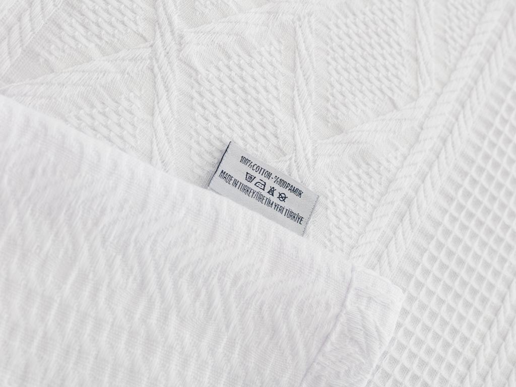 Frill Jakarlı Çift Kişilik Pıke 200x230 Cm Beyaz