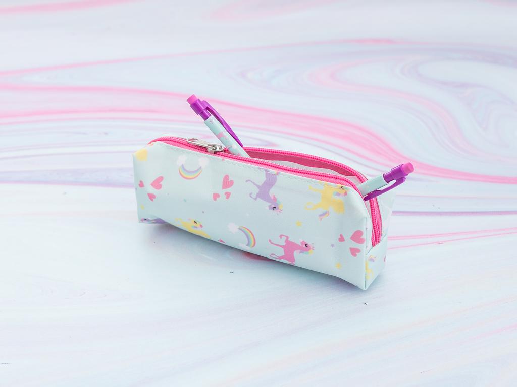 Unicorn Polyester Kalemlık 18,0x5,5x3,5 Cm Mint - Lila - Pembe