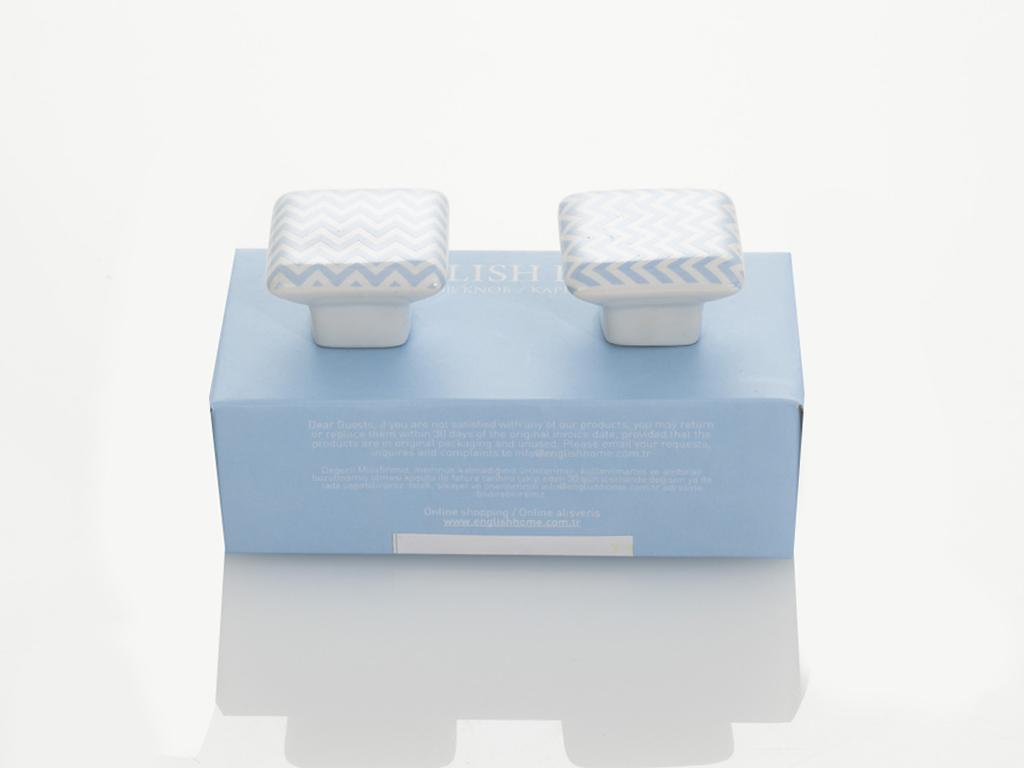 Helicline Seramik 2'li Kapı Kulbu 3,5x3,5x3 Cm Mavi