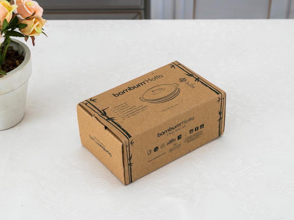 Hotta Bambu Saklama Kabı 13x7,8x5,1 Cm Bej
