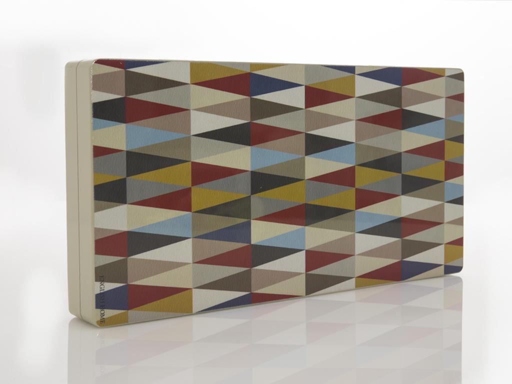Geometrik Ahşap Tavla 43,5x22,5x6 Cm Kırmızı - Lacivert