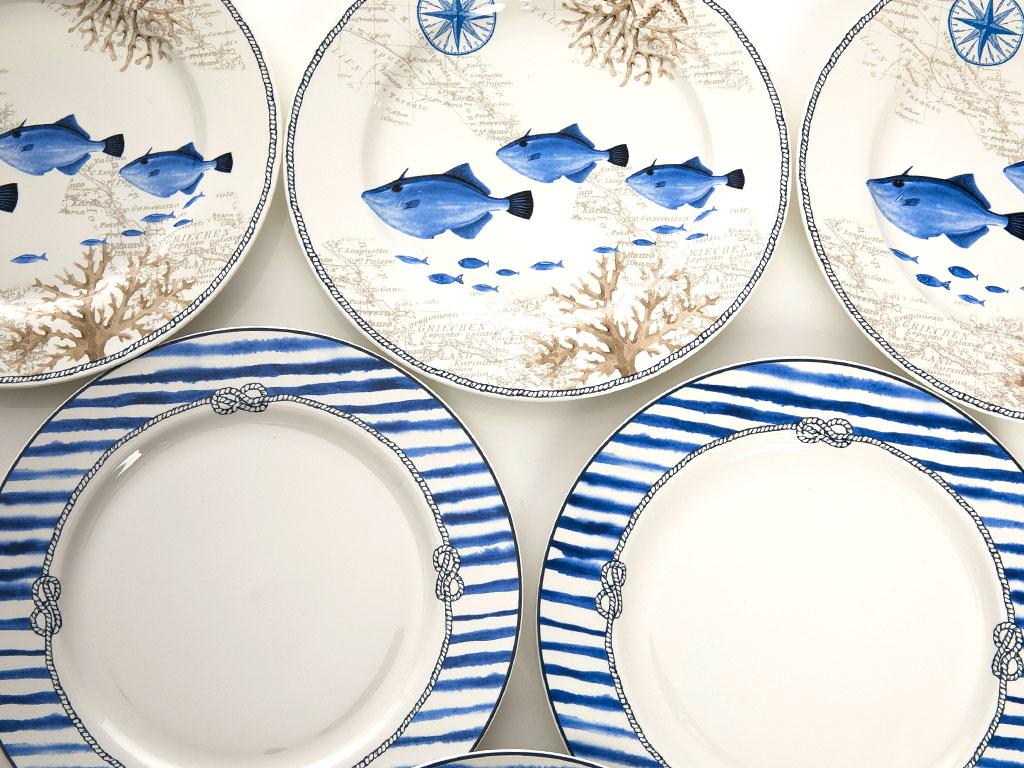 Ocean Blue Bone China 6'lı 27 Cm Mavi