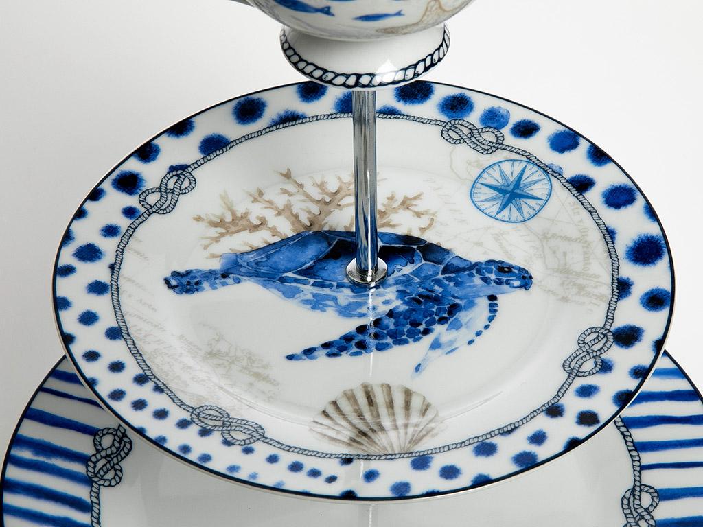 Ocean Blue Bone China 20x26 Cm Mavi