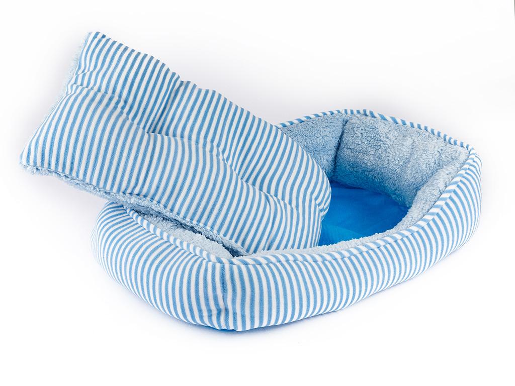 Pet Bed Polyester Pet Yatağı 47x33x12 Cm Açık Mavi